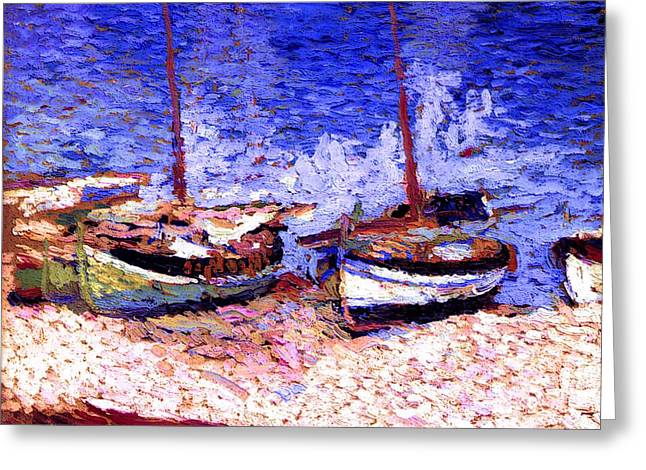 Sailboat Images Mixed Media Greeting Cards - Sailboats In Port Collioure VII Greeting Card by Henri Martin - L Brown