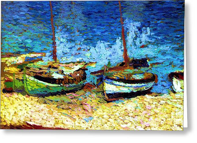 Sailboat Images Mixed Media Greeting Cards - Sailboats In Port Collioure VIII Greeting Card by Henri Martin - L Brown