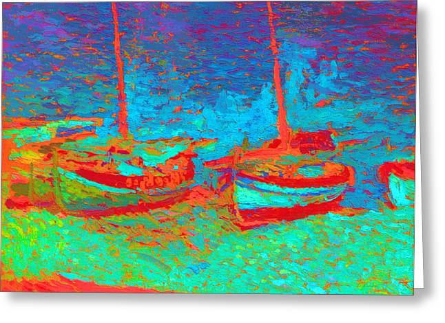 Sailboat Images Mixed Media Greeting Cards - Sailboats In  Port Collioure XI Greeting Card by Henri Martin - L Brown