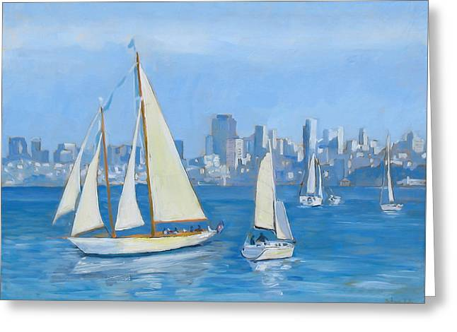 Sausalito Paintings Greeting Cards - Sailboats in Sausalito Greeting Card by Dominique Amendola