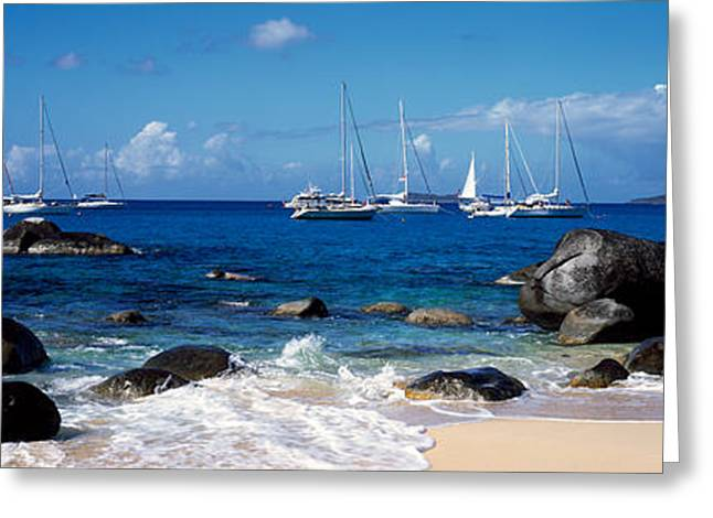 Virgin Islands Greeting Cards - Sailboats In The Sea, The Baths, Virgin Greeting Card by Panoramic Images