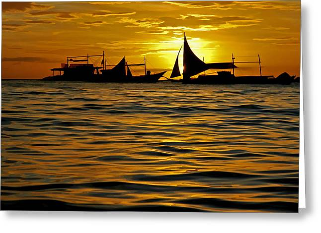 Yellow Sailboats Greeting Cards - Sailboats in the Sunset Boracay Philippines No.2 Greeting Card by Harold Bonacquist