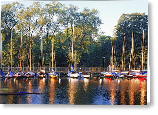 Sailboat Images Greeting Cards - Sailboats Moored At A Dock, Langholmens Greeting Card by Panoramic Images