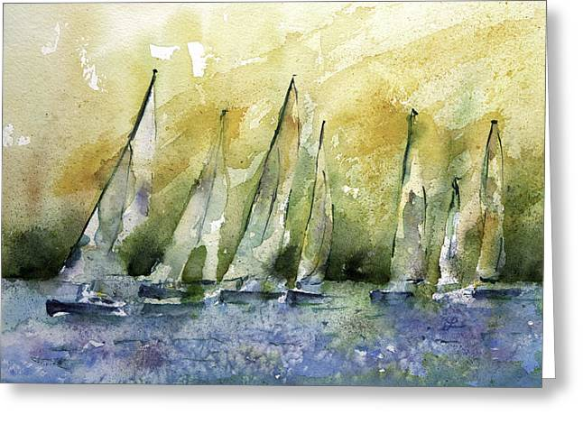 Wet In Wet Watercolor Greeting Cards - Sailboats on Shimmer Lagoon Greeting Card by Lynne Furrer