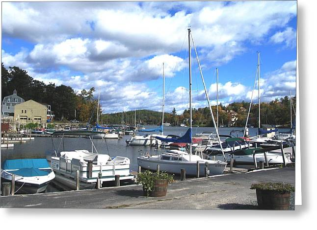 Boats At Dock Greeting Cards - Sailboats on Sunapee Greeting Card by Will Boutin Photos