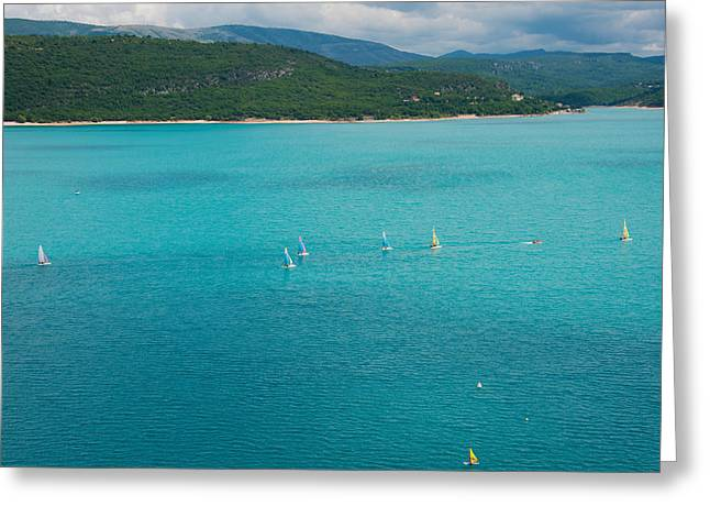 Sailboat Images Greeting Cards - Sailboats On The Lake, Lac De Sainte Greeting Card by Panoramic Images