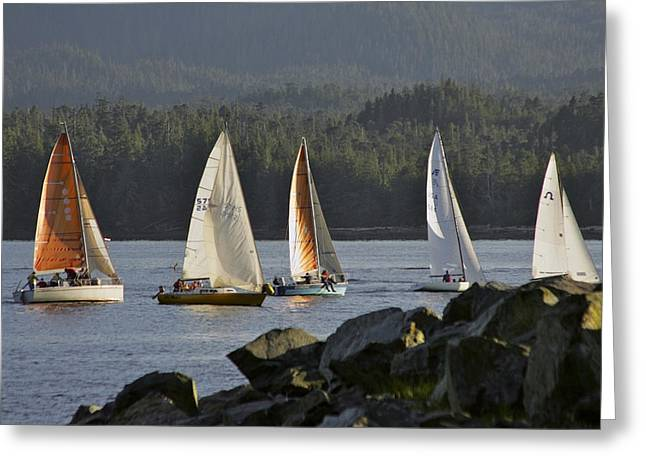 Sailboat Photos Greeting Cards - Sailboats Race In Competition Near Greeting Card by Clark Mishler
