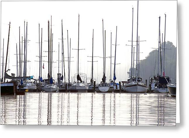Yellow Sailboats Greeting Cards - Sailboats Reflected Greeting Card by Sharon Popek