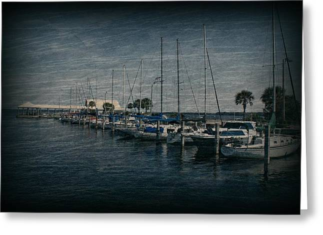 Sailboats Docked Greeting Cards - Sailboats Greeting Card by Sandy Keeton