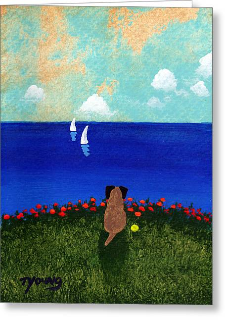 Wind Surfing Art Paintings Greeting Cards - Sailboats Greeting Card by Todd Young