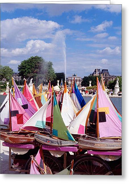 Sailboat Images Greeting Cards - Sailboats Tuilleries Paris France Greeting Card by Panoramic Images