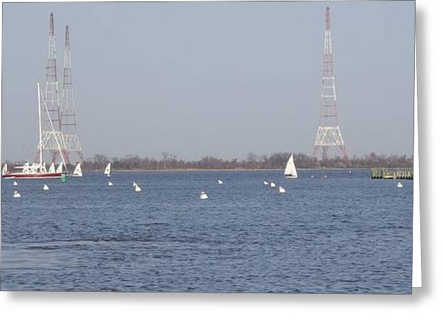 Ocean Springs Yacht Club Greeting Cards - Sailboats with Chesapeake Bay Bridge Beyond Greeting Card by Christina Verdgeline