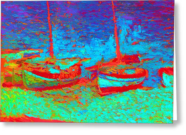 Sailboat Images Mixed Media Greeting Cards - Sailboats In Port Collioure XII Greeting Card by Henri Martin - L Brown