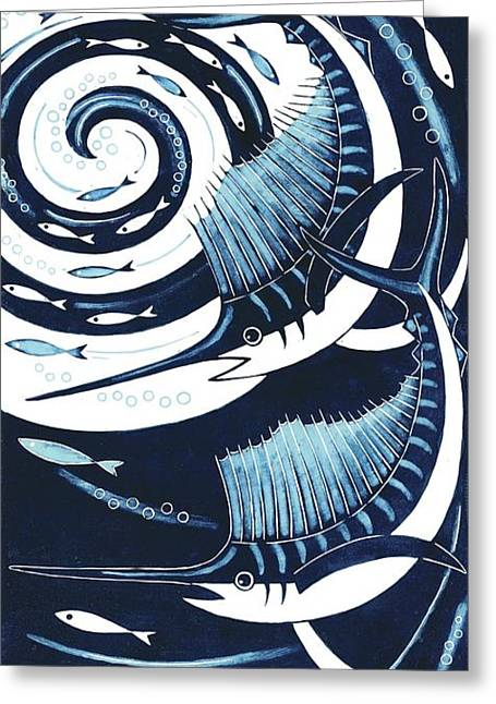 Printmaking Greeting Cards - Sailfish, 2013 Woodcut Greeting Card by Nat Morley