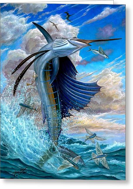 Pez Vela Paintings Greeting Cards - Sailfish And Flying Fish Greeting Card by Terry Fox