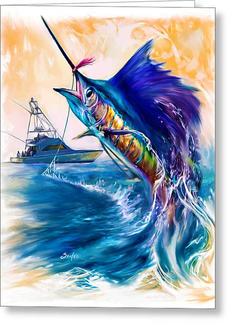 Sail Fish Greeting Cards - Sailfish and Sportfisher art Greeting Card by Mike Savlen