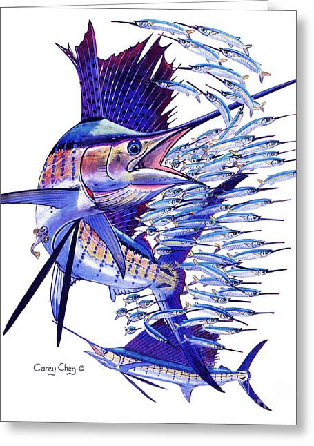 Mullet Greeting Cards - Sailfish ballyhoo Greeting Card by Carey Chen