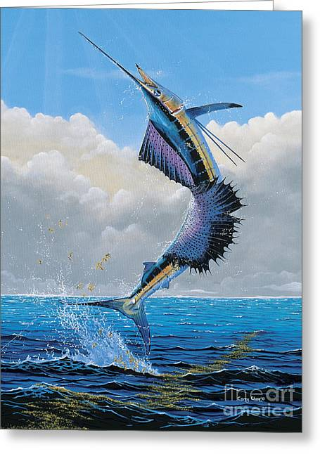 Reef Fish Greeting Cards - Sailfish Dance Off0054 Greeting Card by Carey Chen
