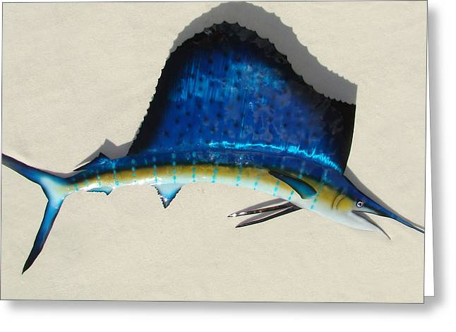Garden Sculptures Greeting Cards - Sailfish Greeting Card by Diane Snider