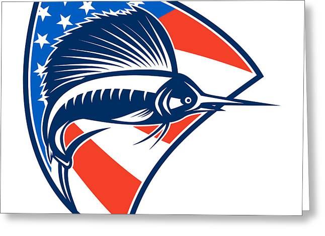 Swordfish Greeting Cards - Sailfish Fish Jumping American Flag Shield Retro Greeting Card by Aloysius Patrimonio