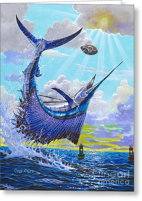 Striped Marlin Greeting Cards - Sailfish football Off0030 Greeting Card by Carey Chen