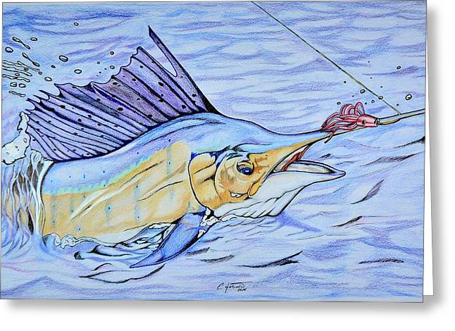 Illustrations Greeting Cards - Sailfish On the Line Greeting Card by Edward Johnston