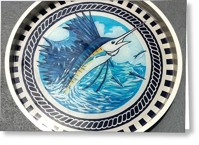Fish Print Greeting Cards - Sailfish Round Tray Greeting Card by Danielle  Perry
