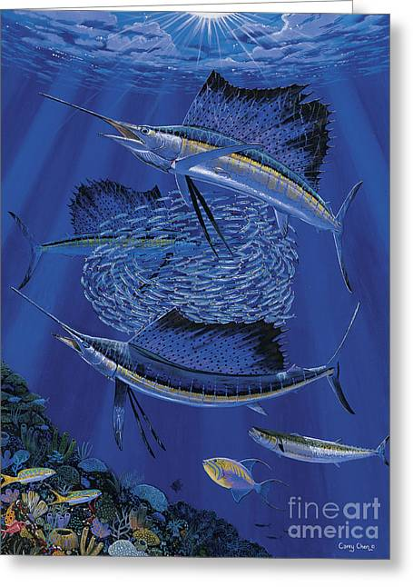 Scuba Diving Greeting Cards - Sailfish round up Off0060 Greeting Card by Carey Chen