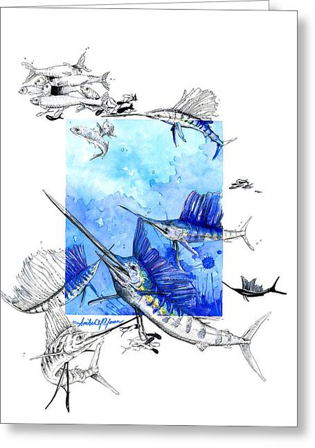 Fishing Tournaments Greeting Cards - Sailfish Swagger Greeting Card by Amber M  Moran