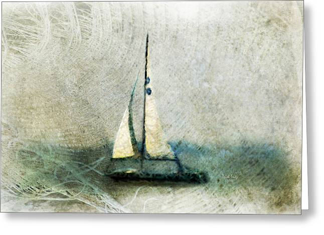 Blue Sailboat Mixed Media Greeting Cards - Sailin With Sally Starr Greeting Card by Trish Tritz
