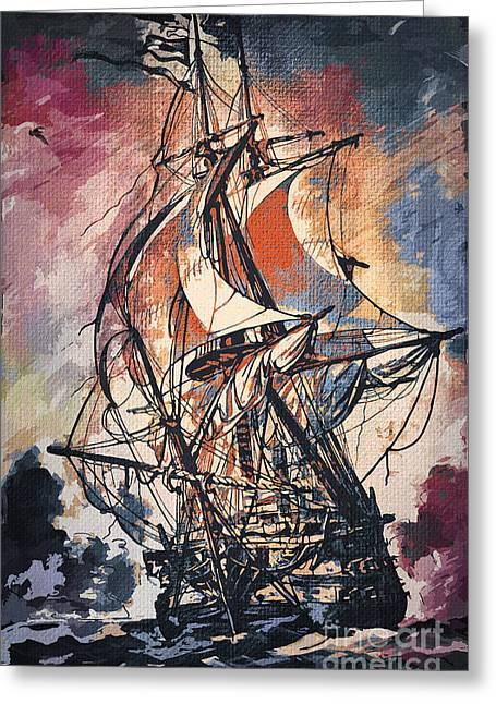 Pirates Paintings Greeting Cards - Sailing 2  Greeting Card by Andrzej Szczerski