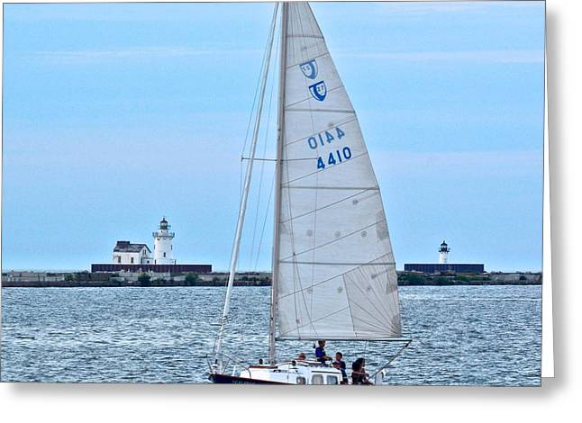 Sailboats Docked Greeting Cards - Sailing Along Greeting Card by Frozen in Time Fine Art Photography