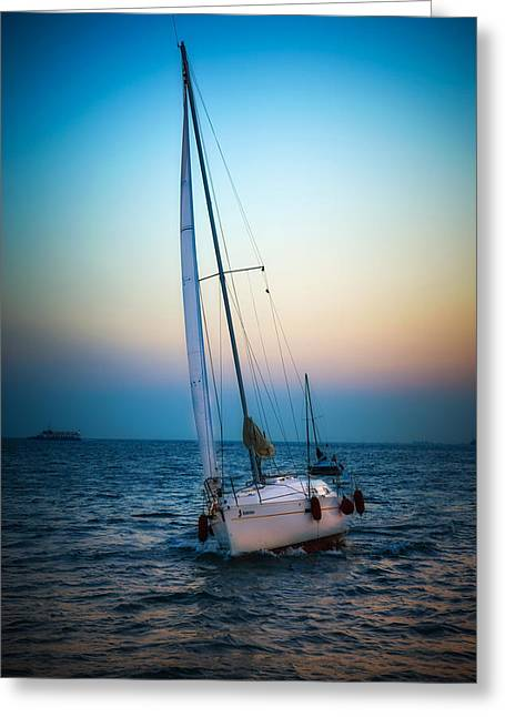 Sailboats In Water Greeting Cards - Sailing and sunset Greeting Card by Dobromir Dobrinov
