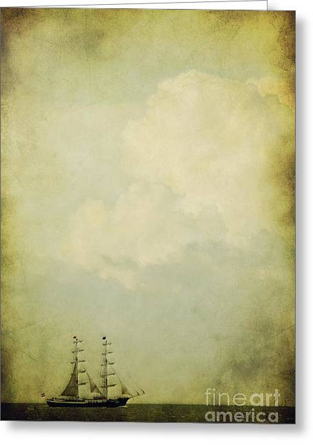 Sailing Ship Mixed Media Greeting Cards - Sailing Greeting Card by Angela Doelling AD DESIGN Photo and PhotoArt