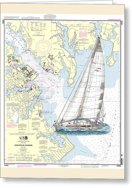 Yachting Drawings Greeting Cards - Sailing Annapolis Harbor Greeting Card by Jack Pumphrey