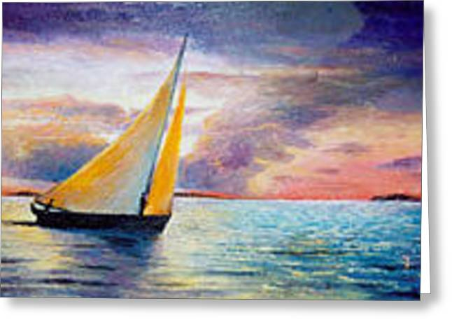 Blue Sailboats Greeting Cards - Sailing Greeting Card by Anne-Elizabeth Whiteway