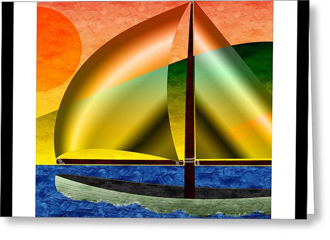 Water Vessels Mixed Media Greeting Cards - Sailing Around Hawaii Square Greeting Card by Andee Design
