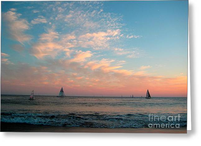 Santa Cruz Sailboat Greeting Cards - Sailing at Dusk Greeting Card by Theresa Ramos-DuVon