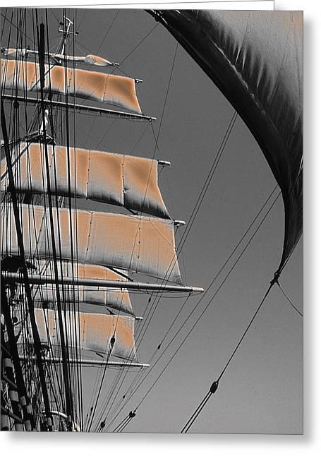 Tall Ships Mixed Media Greeting Cards - Sailing at sunset Greeting Card by Anthony Dalton
