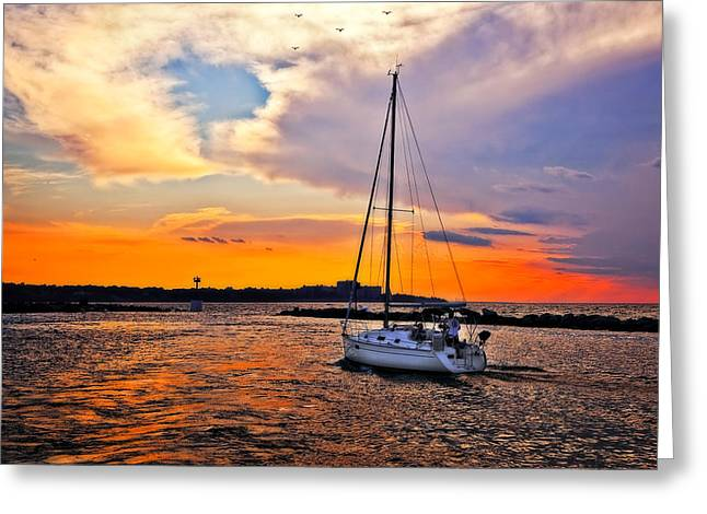 Best Sailing Photos Greeting Cards - Sailing at Sunset Cleveland Harbor Greeting Card by Marcia Colelli