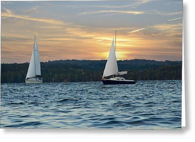 Sailboat Photos Greeting Cards - Sailing At Sunset Greeting Card by Steven  Michael