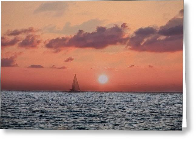 St Petersburg Florida Greeting Cards - Sailing Away Greeting Card by Bill Cannon