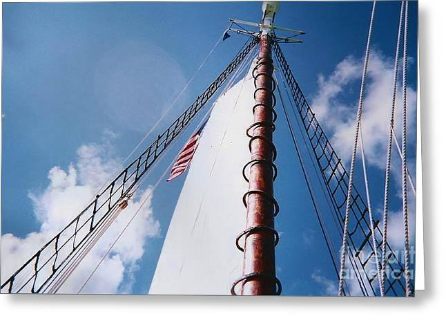 Historic Schooner Greeting Cards - Sailing Away Greeting Card by D Hackett