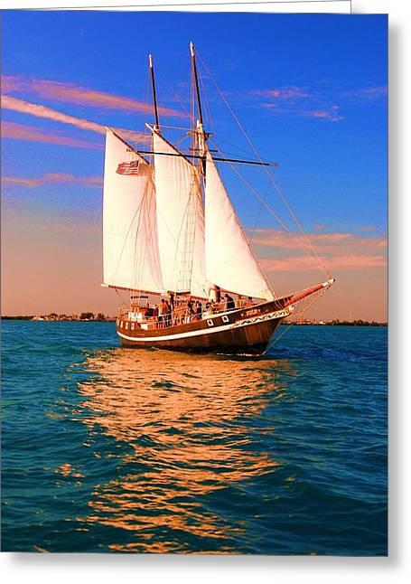 Salt Life Greeting Cards - Sailing Away Greeting Card by Edward Johnston