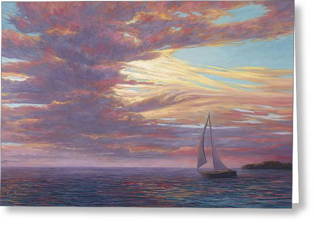 Sailboat Greeting Cards - Sailing Away Greeting Card by Lucie Bilodeau