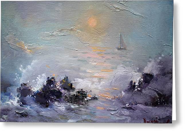Sailing Paintings Greeting Cards - Sailing Back Home Greeting Card by Ylli Haruni
