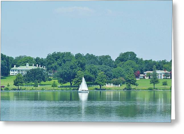 Sailboat Art Greeting Cards - Sailing Between Two Mansions Greeting Card by Donna Wilson
