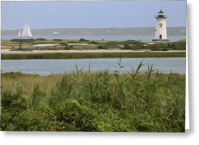 New England Lighthouse Greeting Cards - Sailing Greeting Card by Bill  Wakeley
