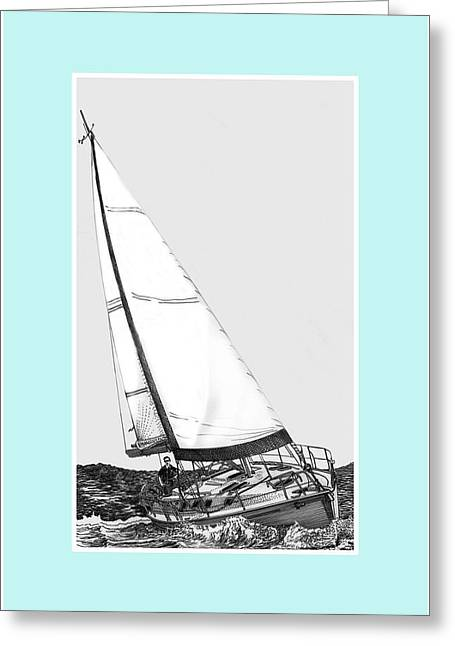 Art Of Sailing Greeting Cards - Sailing Blue Greeting Card by Jack Pumphrey