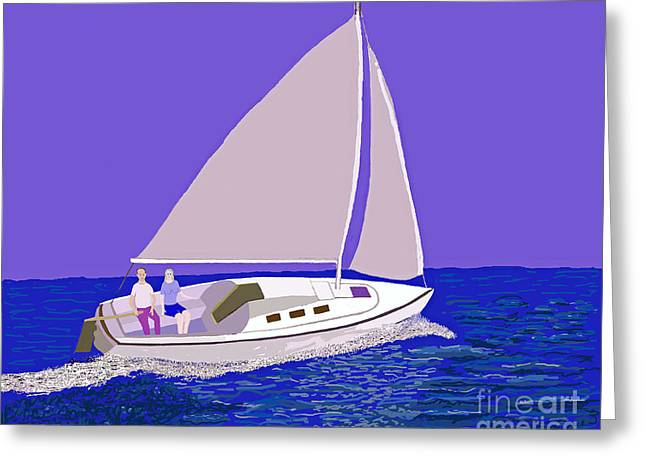 Sailing Blue Ocean Greeting Card by Fred Jinkins